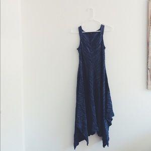 dark blue midi dress